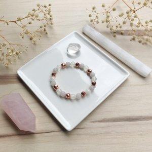 Faïtha - bracelet - quartz rose - hematite