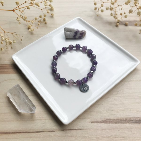akha - bracelet - améthyste - lotus - eau