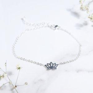 bracelet - inox - lotus - argent