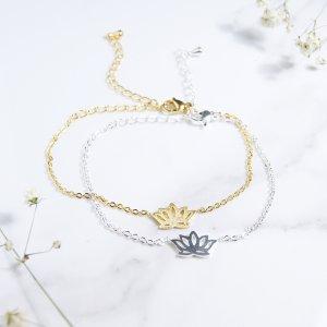 bracelet - inox - lotus - dore - argent