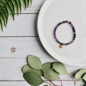 amethyste - bracelet - coeur - dore