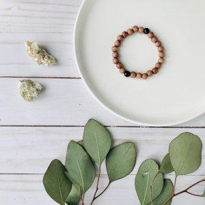 bracelet - bois - rose - onyx