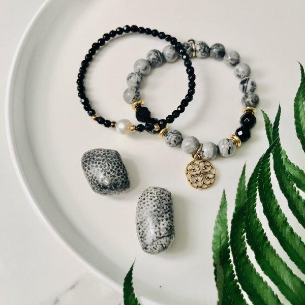 duo - gris - bracelets - pierres - jaspe - lave