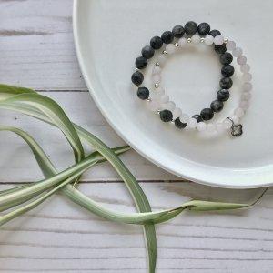 duo - bracelets - pierres - quartz - rose