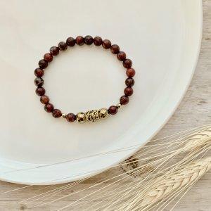 bracelet - jaspe - rouge - dore