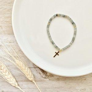 bracelet - labradorite - croix - pierre