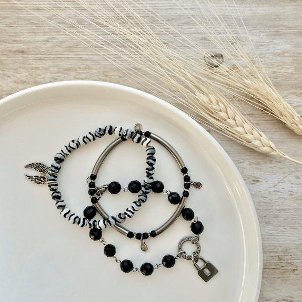 trio - bracelet - agate - onyx