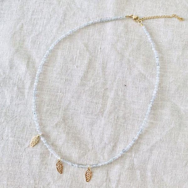 collier - natura - labradorite - feuille