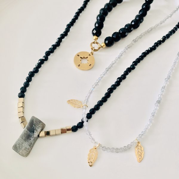 trio - colliers - onyx - labradorite