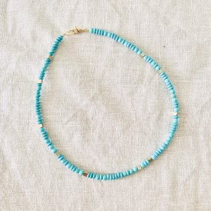 collier - turquoise - dore - magnésite